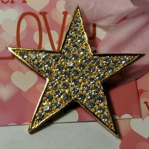 Jewelry - Elegant Gold Star Rhinestone Crystal Brooch Pin